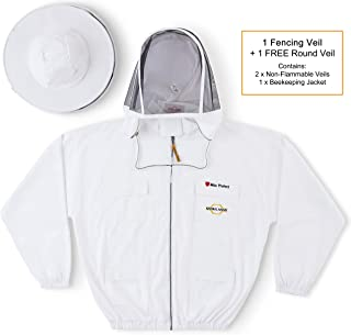 Natural Apiary Max Pro Beekeeping Jacket Suit Outfit 2 x Non-Flammable Fencing Veil Mesh (Round & Fencing) Professional Bee Keeper Protection, Large, White