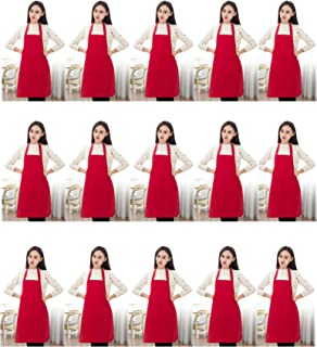 TSD STORY Total 15 PCS Plain Deep Red Bib Apron for Women Men Adult with 2 Front Pockets-Painting Baking Cooking Kitchen Apron for Women Girls-(Wine,15pcs)