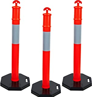 "CJ Safety 44"" Orange PE Delineator Post Cone, 44"" Height Post, 13 lbs Octagonal Rubber Base, 10"" Reflective Band (Set of 3)"