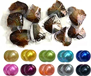 Twin Pearls Freshwater Cultured Double Love Wish Pearl Oyster with Round Twin Pearl Inside 10 Colors 6.5-7.5mm (10 Oysters & 20 Pearls)