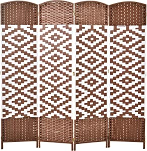 HOMCOM 6ft 4-Panel Diamond Weave Folding Room Divider with Freestanding Folding Screen & Stylish Wicker Material