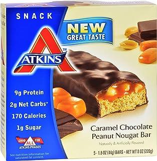 Atkins Advantage Caramel Bars, Chocolate Peanut Nougat, 5 - 1.6 Ounce Bars (Pack of 3)