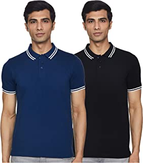Amazon Brand - Symbol Men's Solid Regular Fit Tipping Collar Polo (Combo Pack of 2)