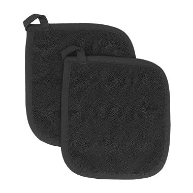 Ritz Royale Collection 100% Cotton Terry Cloth Pot Holder Set, Kitchen Hot Pad, 2-Pack, Black
