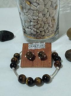 Conjunto de pulseras y pendientes de plata y de piedras semipreciosas de ojo de tigre. Adaptables 18,5 cm a 19,5 cm.