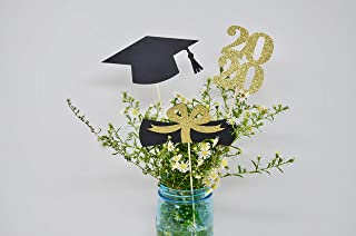 Graduation party decorations 2020, centerpiece Sticks 2020, Grad Cap, Diploma, Class of '20 Graduation Party Decor gold glitter, prom 2020