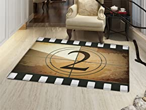 Movie Theater Door Mat Indoors Countdown Screen Illustration with Number 2 on Grunge Background Customize Bath Mat with Non Slip Backing Pale Brown Black White