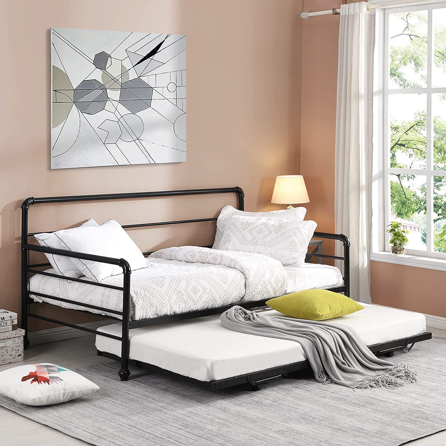 P 新商品!新型 PURLOVE Twin Daybed Adjustable Frame Trundle ランキングTOP5 with