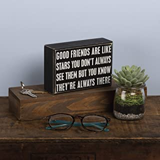 """Primitives by Kathy 17423  Box Sign, Good Friends, Wood, 6"""" x 4"""""""