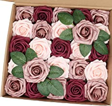 J-Rijzen Artificial Flowers 25PCS Real Looking Blush & Dusty Rose & Burgundy Fake Roses with Stem for DIY Wedding Bouquets...