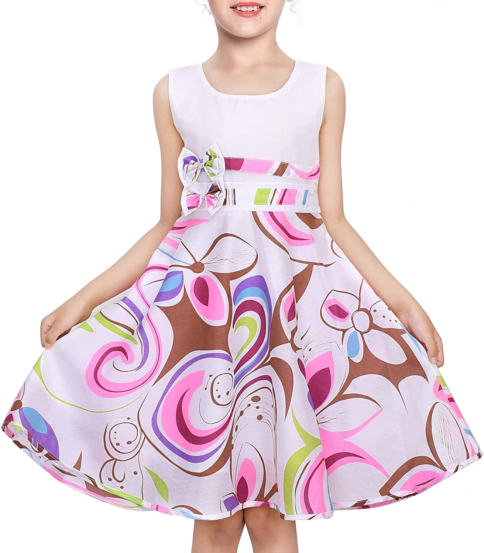 Sunny Fashion Girls Dress Purple Paisley Flower Print Double Bow Tie