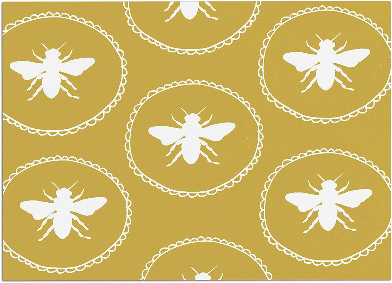 KESS InHouse Jennifer Rizzo Busy As A Bee Maise gold  White Nature Pet Bowl Placemat, 24  x 15