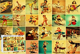 Logicpuz Challenge Pin Up Girl Jigsaw Puzzle for Adult Cool Vintage World War 2 Sexy Lady Poster 1000 Piece Wooden Puzzle