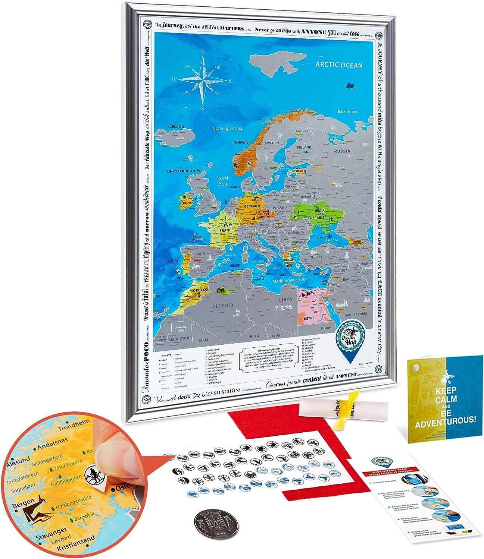 Europakarte zum Rubbeln mit Rahmen - Große Große Große Detaillierte Rubbelkarte Europa Poster 68x48cm Delux Silber - Premium Landkarte Freirubbeln - Scratch off Europe Travel Map Geschenk für Reisende B01MDQ8KE0   Abgabepreis  0a84c4