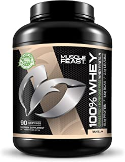 100% Whey Protein | Grass Fed & Hormone Free | Blend of Isolate, Concentrate and Hydrolyzed Whey Protein (5lb, Vanilla)