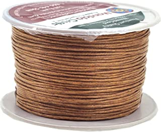 Mandala Crafts 1mm 109 Yards Jewelry Making Beading Crafting Macramé Waxed Cotton Cord Thread (Russet Brown)