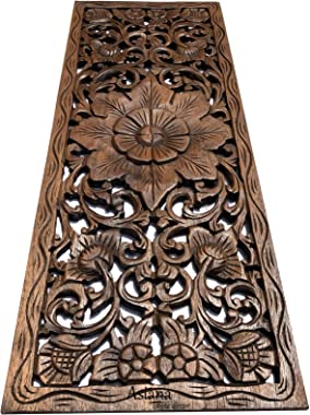 """Asiana Home Decor Large Carved Wood Wall Panel. Floral Wood Carved Wall Decor. Size 35.5""""x13.5""""x0.5"""" (Brown-Teak)"""