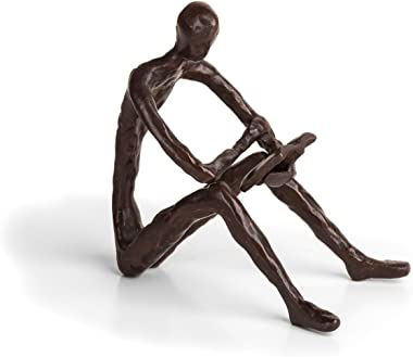 Danya B. ZD14010 Bronze Sculpture of Person Reading a Book – Modern and Elegant Design – Metal Art - Contemporary Home and Office Décor