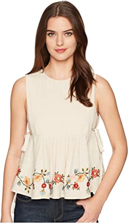 J.O.A. - Embroidered Pleated Top with Side Tie
