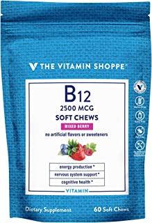 Vitamin B12 Soft Chews Supports Energy Production Cognitive Health Mixed Berry (60 Soft Chews)