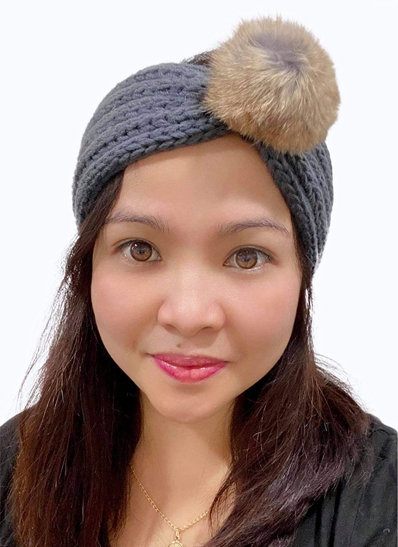 Fashion Headband, Knitted Headband with Pompom, Ear Warmer Headband, Women's Winter Headband, Stylish Headband, Gift for Women (Grey)