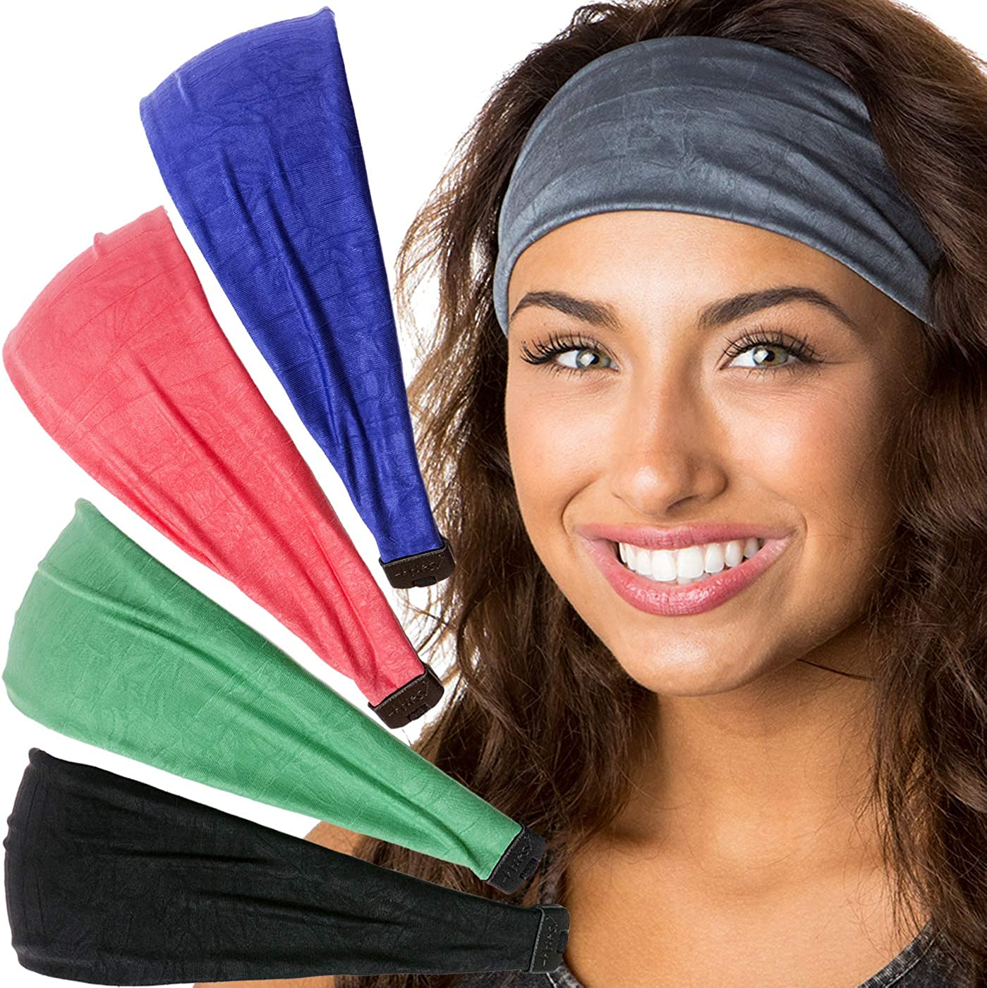 Hipsy Adjustable & Stretchy Crushed Xflex Wide Headbands for Women Girls & Teens