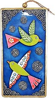 QPARTS Handmade Ceramic 2 Birds Wall Art, Ceramic Art, Sculptural Ceramic Tile, Wall Hanging, Home Decor, Pastel Wall Decor, Gift for Home