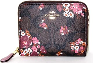 0c22a93b4021e Coach Signature Small Zip Around Wallet in Medley Bouquet Brown Multi F31955