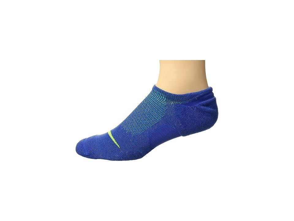 Nike Elite Cushioned Running No Show Socks (Game Royal/Photo Blue/Volt) No Show Socks Shoes