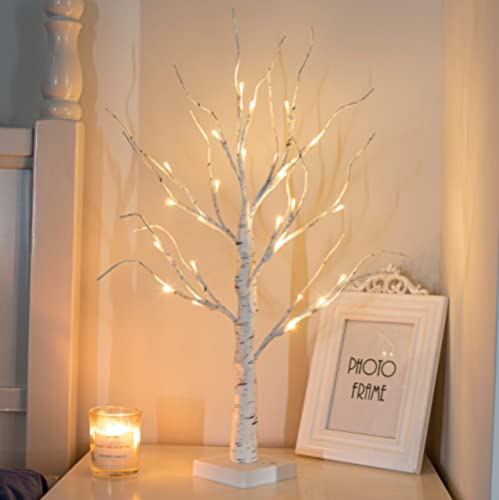 """PEIDUO 24"""" 2FT 24LT Lighted Birch Tree Battery Powered Timer Warm White LED Artificial Branch Tree for Home Party Fes..."""