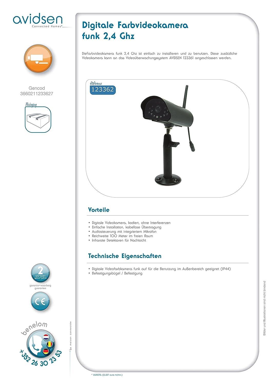 Avidsen 123362 Digitale Farbvideokamera Ohne Kabel 2 4 Ghz 1 Stück Schwarz Baumarkt