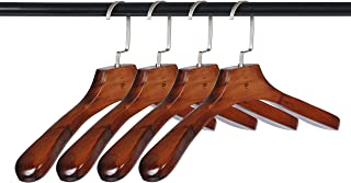 【ケーセブン】☆Kseven☆ ハンガー 木製 40cm あとがつかない 丸い 肩ライン スーツ コート 高級 業務用 まとめ セット (4本組)