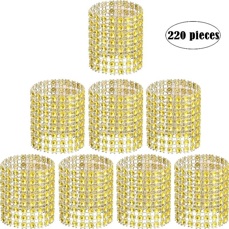 Zhanmai Rhinestone Napkin Rings Napkin Mesh Adornment For Wedding Party Birthday Supplies Gold 220 Pieces