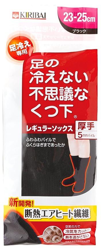 吸うお酒不名誉足の冷えない不思議な靴下 レギュラーソックス厚手ブラック23-25cmPP