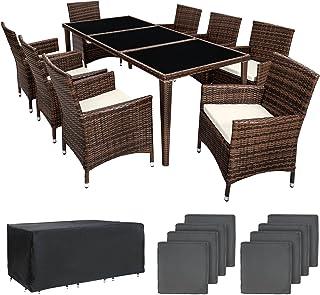 TecTake Conjunto muebles de jardín en aluminio y poly ratan 8+1 con set de fundas intercambiables + Protección contra lluv...