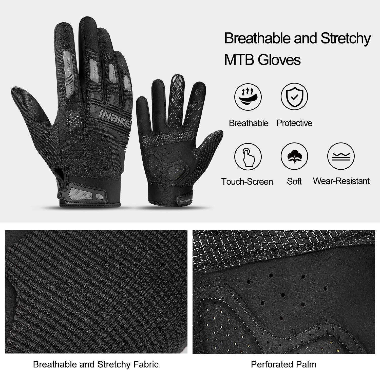 INBIKE Guanti MTB in Gel Antiscivolo Resistenti con 2 Dita Touchscreen per Mountain Bike Ciclismo Moto