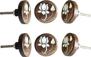 Set of 6 MOP Lotus Flower Wooden Knob Decorative Antique Vintage Pull for Drawer Cupboard Drawer Cabinet Dresser Bedroom B...