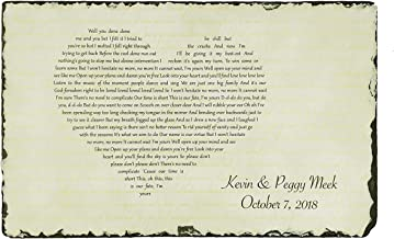 Sassy Squirrel Handcrafted and Personalized Wedding First Dance Present Song Lyrics Wedding Vows Poem Ideal for him her Couples Husband Wife Girlfriend Boyfriend Valentines Christmas (12