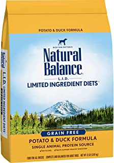 Natural Balance L.I.D. Limited Ingredient Diets Dry Dog Food, Potato & Duck Formula, 13 Pounds, Grain Free (Discontinued b...