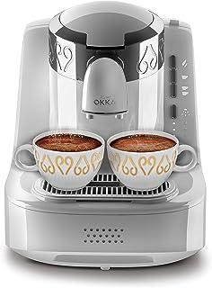 ماكينة تحضير القهوة التركية باستخدام مسحوق القهوة، من اوكا، لون ابيض، موديل OK002C