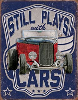 Desperate Enterprises Still Plays with Cars Tin Sign, 12.5