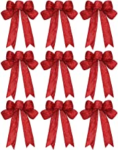 WILLBOND 9 Pieces Christmas Ribbon Bows Glitter Christmas Bow Christmas Wreath Bow for Christmas Party Decoration (Red)