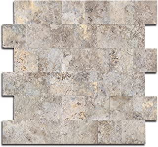 Yipscazo Peel and Stick Tile Backsplash, PVC Ecru Slate Backsplash Stone Tile for Kitchen..