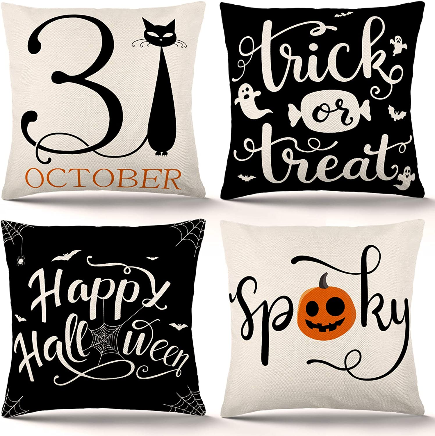 Mail order cheap ZJHAI Halloween Pillow Covers 18x18 Inch or Directly managed store 4 Set of Trick Treat