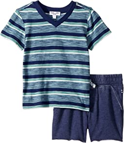 Splendid Littles Yarn-Dye Stripe V-Neck Tee Set (Infant)