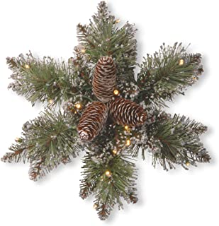 National Tree 14 Inch Glittery Bristle Pine Snowflake with Cones and 15 Warm White Battery Operated LED Lights with Timer (GB1-300L-14SB-1)