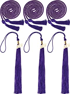 3 Pieces 2019 Graduation Tassels and 3 Pieces Graduation Cords Polyester Yarn Honor Cords Grad Party Tassel Cord Decoration for Party Supplies (Purple)