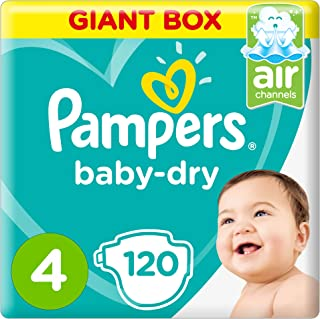 Pampers Baby-Dry, Size 4, Maxi, 9-14 kg, Giant Box, 120 Diapers