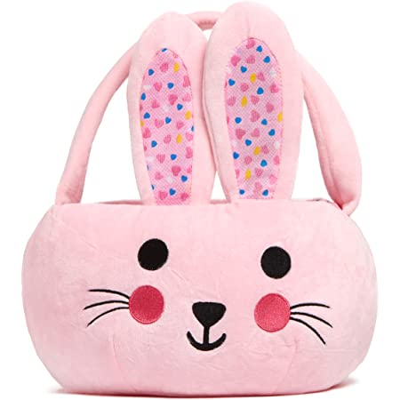 Houwsbaby Easter Bunny Basket Plush Spring Egg Rabbit Tote Bag Carrying Gift Candies Buckets and Eggs Hunt Bag for Toddler Kids Holiday Festival Decorations Party Supplies, Pink,