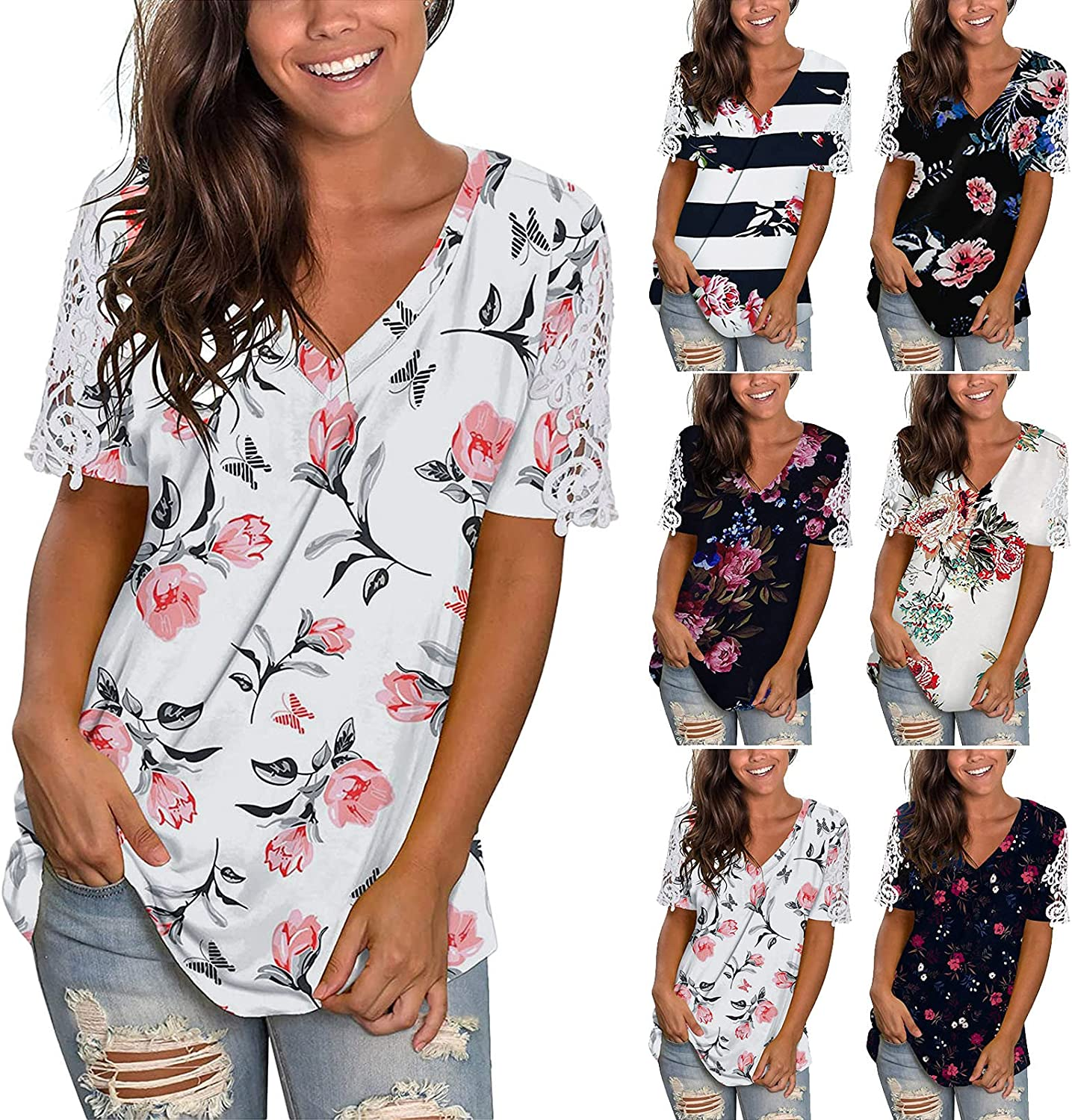 Womens Summer Tops, Women Gradient T-Shirt V-Neck Casual Tees with Sleeves Tops Printed Side Split Tunic Blouses